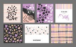 För valentindag för vektor lycklig samling för kort för hälsning för klotter Stock Illustrationer