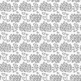 För valentindag för hand utdragen gullig krusidull för hjärta och bakgrund för modell för Hello förälskelsetext Sömlös vektorillu stock illustrationer