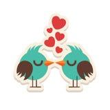 För Valentine Day för fåglar för förälskelse för hälsningkort kyssande lycklig illustration vektor Modelldesign Reklamblad eller  Arkivfoton