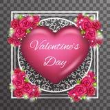 För Valentine Day Heart Realistic 3d för Greating kortmall vektor för design för genomskinlig för bakgrund symbol åtlöje för symb Royaltyfri Foto