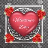 För Valentine Day Heart Realistic 3d för mall för hälsningkort genomskinlig bakgrund symbol Royaltyfri Bild