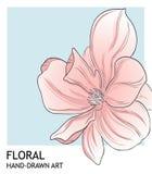 För valentinhälsning för Minimalist pion botanisk design för mall för kort i blå färg för korall Vektor hand-dragen boran vektor illustrationer