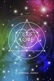 För valentinhälsning för sakral geometri esoteriskt kort med geometrisk hipsterstilhjärta på färgrik kosmosbakgrund Royaltyfria Bilder