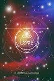 För valentinhälsning för sakral geometri esoteriskt kort med geometrisk hipsterstilhjärta på färgrik kosmosbakgrund Arkivfoto