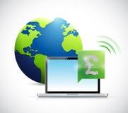 för valutabegrepp för brittiskt pund online-illustration Arkivbild