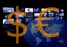 för valutadollar för affär företags euro kontra royaltyfri illustrationer