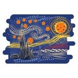För Van Gogh för stjärnklar natt vektor för stil konst royaltyfri illustrationer