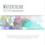 För vattenfärgabstrakt begrepp för blå gräsplan violett bakgrund Fotografering för Bildbyråer