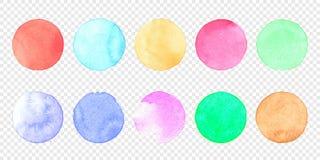 För vattenfärgcirkel för vektor pastellfärgad uppsättning Färgsudd av akvarellfärgstänkfläck på genomskinlig bakgrund stock illustrationer