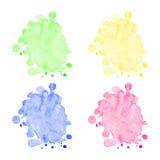 För vattenfärgfläckar för vektor färgrik uppsättning Royaltyfria Bilder