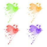 För vattenfärgfläckar för vektor färgrik uppsättning Royaltyfri Bild