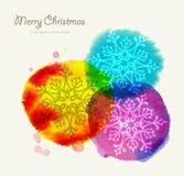 För vattenfärghälsning för glad jul kort Arkivfoto