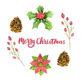 För vattenfärghälsning för glad jul kort Designmall för jul blom- design för ferie också vektor för coreldrawillustration stock illustrationer