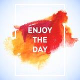 För vattenfärgslaglängd för motivation fyrkantig affisch Textbokstäver av en inspirerande ordstäv Typografisk affischmall för cit Arkivfoton
