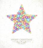 För vattenfärgstjärna för glad jul illustration Royaltyfria Bilder