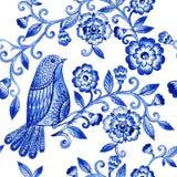 För vattenfärgtextur för vektor blom- modell med blåttblommor och fåglar Arkivfoton