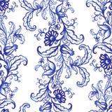 För vattenfärgtextur för vektor blom- modell med blommor Royaltyfri Fotografi