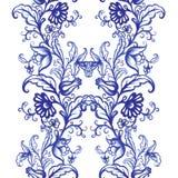 För vattenfärgtextur för vektor blom- modell med blommor Royaltyfri Foto