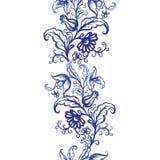För vattenfärgtextur för vektor blom- modell med blommor Arkivbild