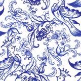 För vattenfärgtextur för vektor blom- modell med blommor Royaltyfria Bilder