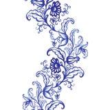 För vattenfärgtextur för vektor blom- modell med blommor Royaltyfri Bild