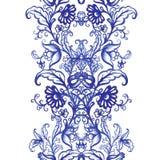 För vattenfärgtextur för vektor blom- modell med blommor Fotografering för Bildbyråer