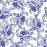För vattenfärgtextur för vektor blom- modell med blommor Arkivbilder