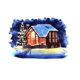 För vattenfärgvinter för hand utdraget landskap för natt med huset vektor illustrationer
