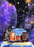 För vattenfärgvinter för hand utdraget landskap för natt med huset stock illustrationer