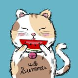 För vattenmelonvektor för katt hållande illustration Royaltyfri Bild