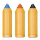 För vektor pennor för svart lite röda och blåa boll, Fotografering för Bildbyråer