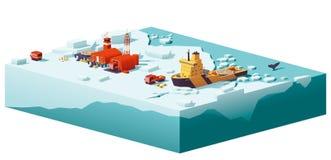 För vektor poly polar station och isbrytare lågt stock illustrationer