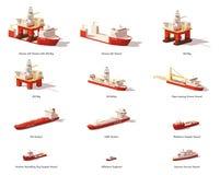 För vektor skyttlar för frånlands- olje- utforskning lågt poly royaltyfri illustrationer