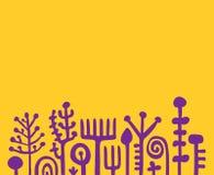 För vektorbakgrund för gul och violett abstrakt hand utdragen illustration Konstiga galna växter vektor illustrationer