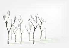 För vektorbakgrund för kala träd stilfull skugga för uppsättning vektor illustrationer