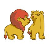 För vektorbild för klistermärke klar afrikansk djur lejon och lejoninna royaltyfri illustrationer