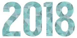 2018 för vektorblått isolerade för lyckligt nytt år låga poly symbol Royaltyfria Bilder