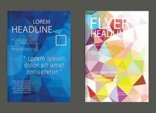 För vektorbroschyr för abstrakt triangel geometrisk mall Reklamblad Layo Arkivbild