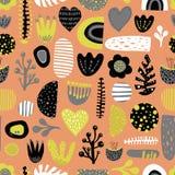 För vektordesign för gulliga skandinaviska ungar sömlös tegelplatta vektor illustrationer