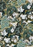 För vektordesign för murgröna trädgård för modell för färgrik för blomma för konst för målning tapet för garnering sömlös stock illustrationer