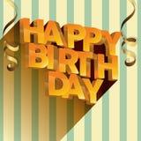 För vektorhälsning för lycklig födelsedag design för kort för inbjudningar och beröm Royaltyfria Bilder