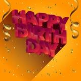 För vektorhälsning för lycklig födelsedag design för kort för inbjudningar och beröm Arkivbilder