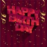 För vektorhälsning för lycklig födelsedag design för kort för inbjudningar och beröm Royaltyfri Bild