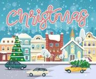 För vektorhälsning för glad jul och för lyckligt nytt år kort i plan stil Royaltyfri Foto