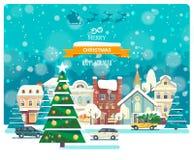 För vektorhälsning för glad jul och för lyckligt nytt år kort i plan stil Royaltyfria Bilder
