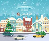För vektorhälsning för glad jul och för lyckligt nytt år kort i plan stil Royaltyfri Bild