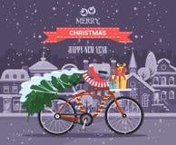 För vektorhälsning för glad jul och för lyckligt nytt år kort i plan stil med cykeln Arkivfoto