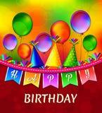 För vektorhälsning för lycklig födelsedag kort med färgrika ballonger vektor illustrationer