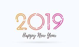 2019 för vektorhälsning för lyckligt nytt år kort vektor illustrationer