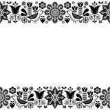 För vektorhälsning för skandinavisk folkkonst retro design för kort, blom- prydnad i svartvitt Royaltyfri Fotografi